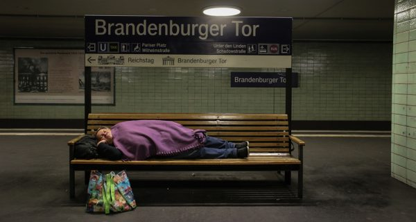 sleeping at the U-Bahn station in Berlin