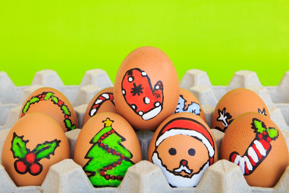 eggs with christmas drawing