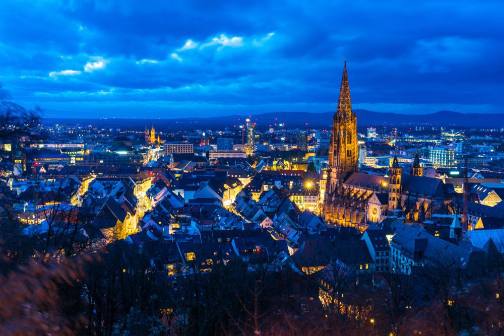 freiburg from above in winter