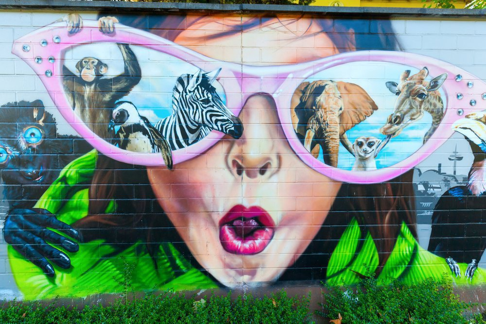 graffiti at the wall of the zoo of Cologne