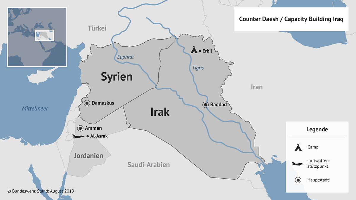 Карта расположения подразделения Бундесвера в Ираке