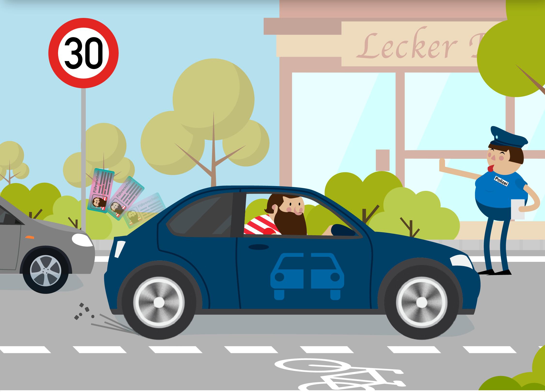 Водителя останавливает полицейский за превышение скорости по новым правилам ПДД картинка