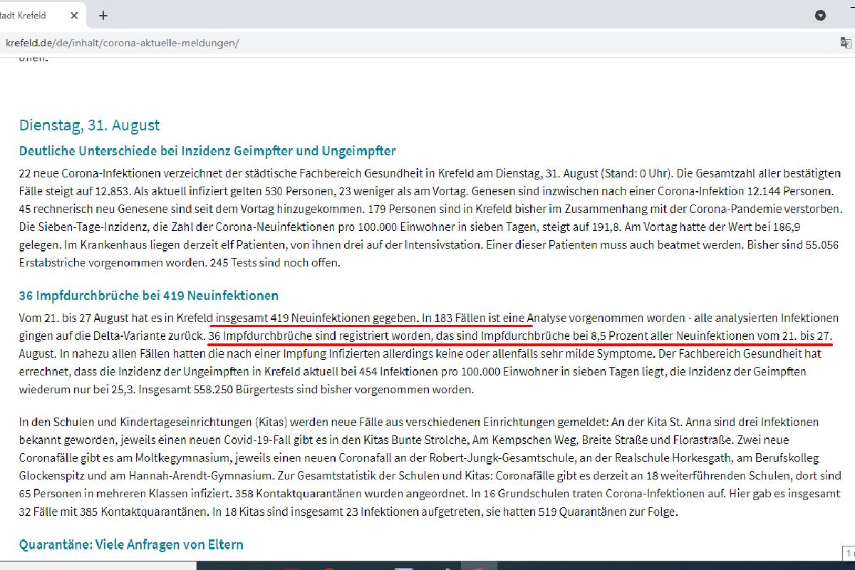 Данные по городу Крефельд. Скриншот: www.krefeld.de