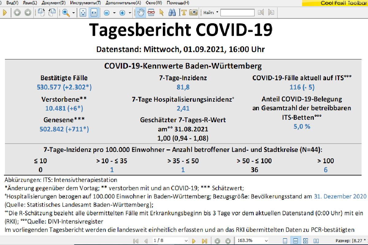 Данные по COVID-19 из Баден-Вюртемберга. Скриншот: gesundheitsamt-bw.de