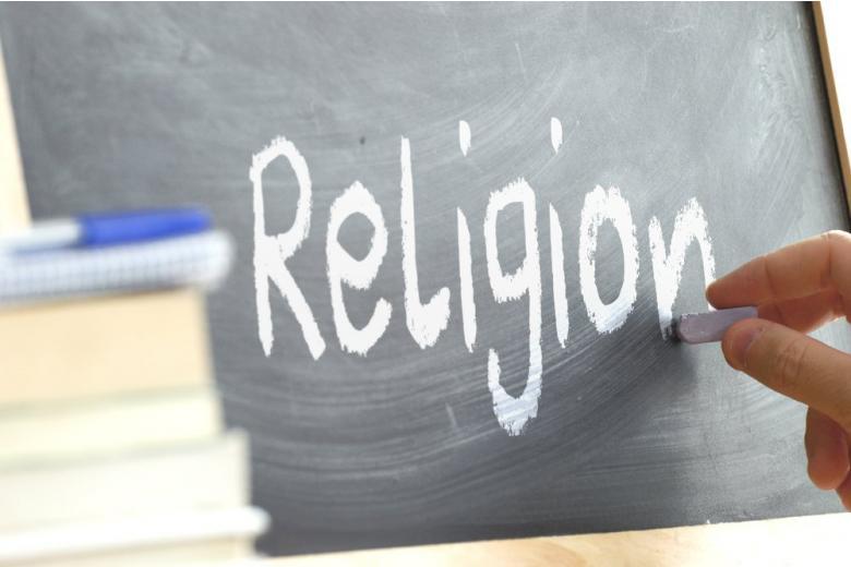 Inscription Religion on the school board