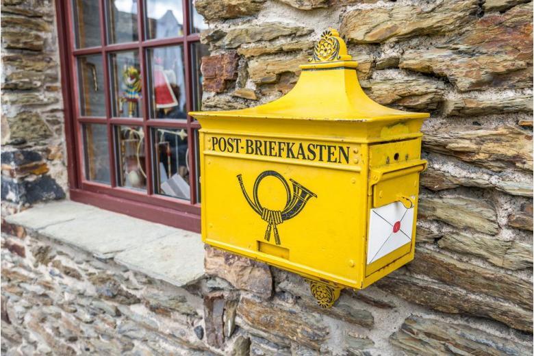 german yellow post box