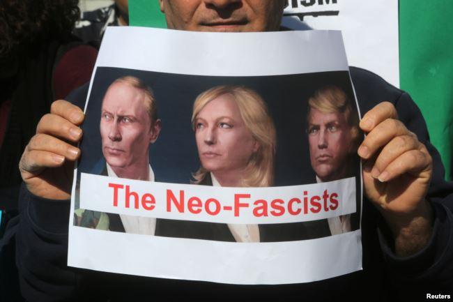 с изображением Ле Пен, Владимира Путина и Дональда Трампа