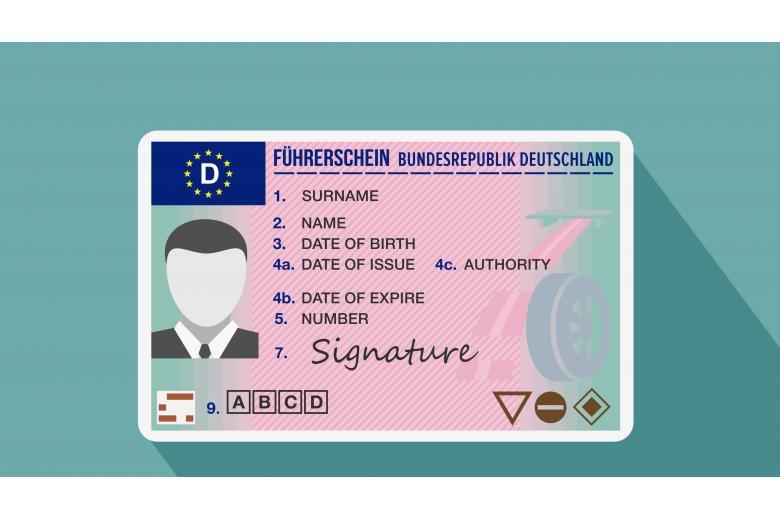 Образец водительских прав в Германии