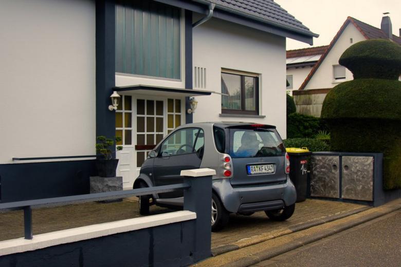 electrocar near the house in Karlsruhe