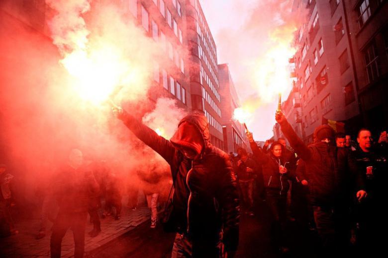 Демонстрация ультраправых в Брюсселе