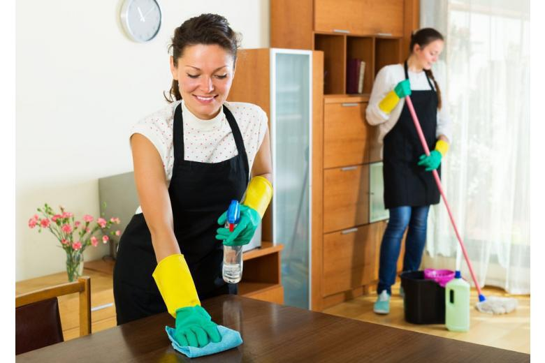 2 smiling young female cleaning room
