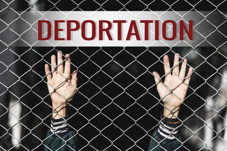 Плакат и сетка, руки человека с вывеской об иммиграции