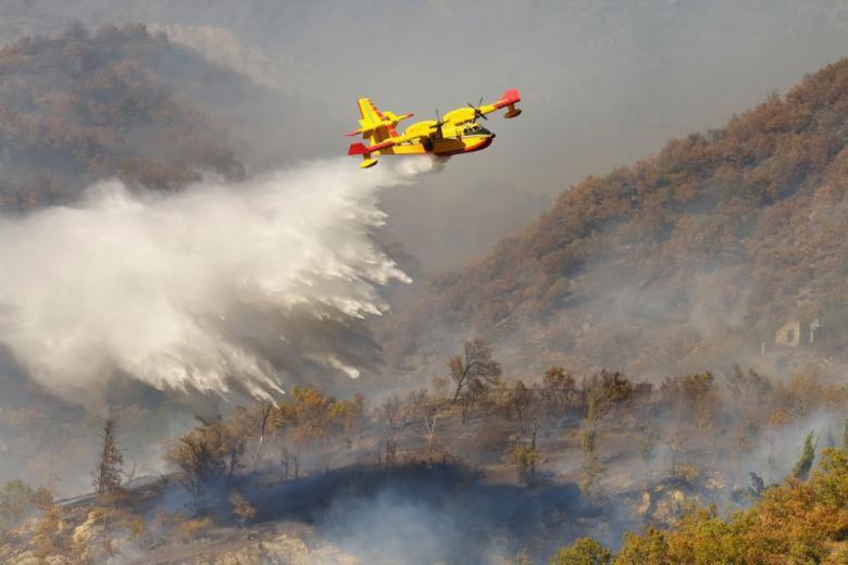 Спецсамолет Canadair тушит лесной пожар