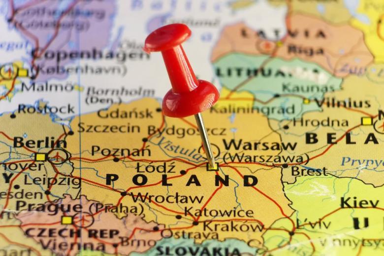 Карта с обозначением Польши