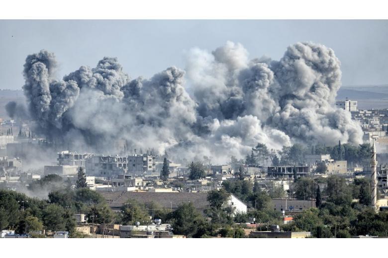 Взрыв в Сирии во время войны