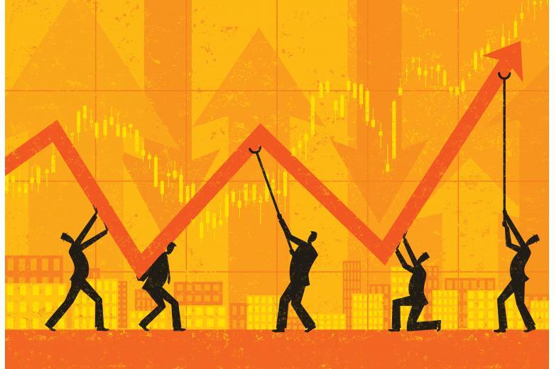Диаграмма с изображением спада и роста