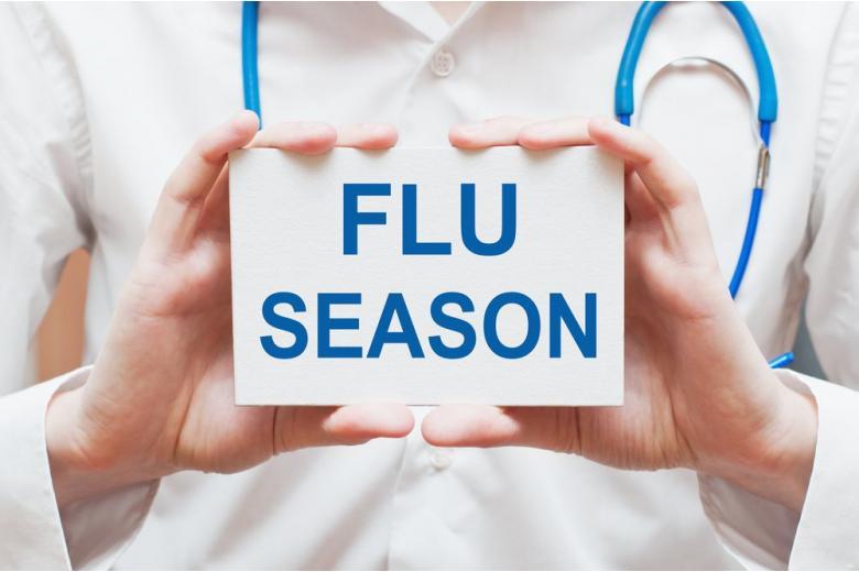 Табличка с надписью сезон гриппа