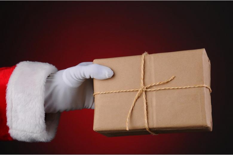 Santa gives a parcel