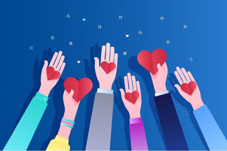 Руки с сердечками благотворительности