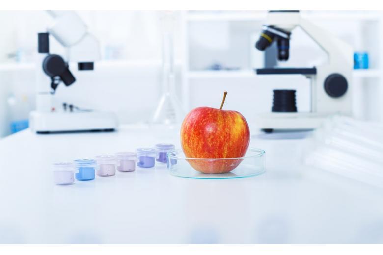 Яблоко и микроскоп