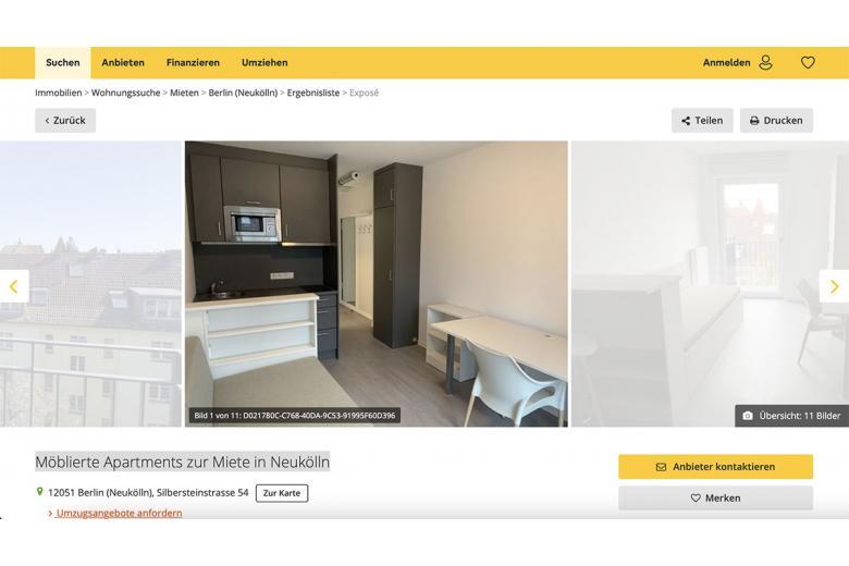 1-комнатная квартира в Берлине с мебелью за 548 евро в месяц. Фото: immowelt.de