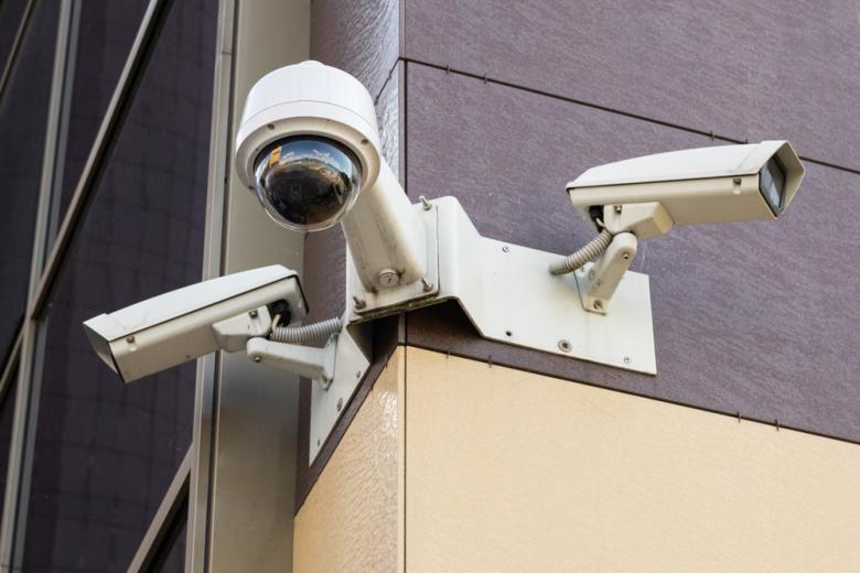 surveillance cameras on office building