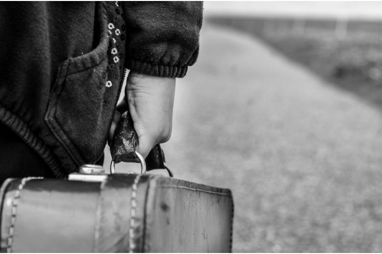 Рука держит чемодан