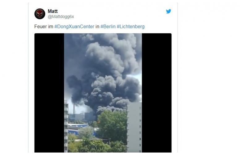 Пожар рынка в Берлине