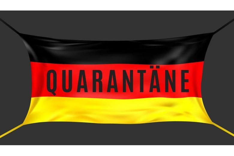 "Надпись ""Карантин"" на немецком флаге"