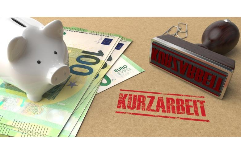 Печать Kurzarbeit, банкноты евро и копилка фото