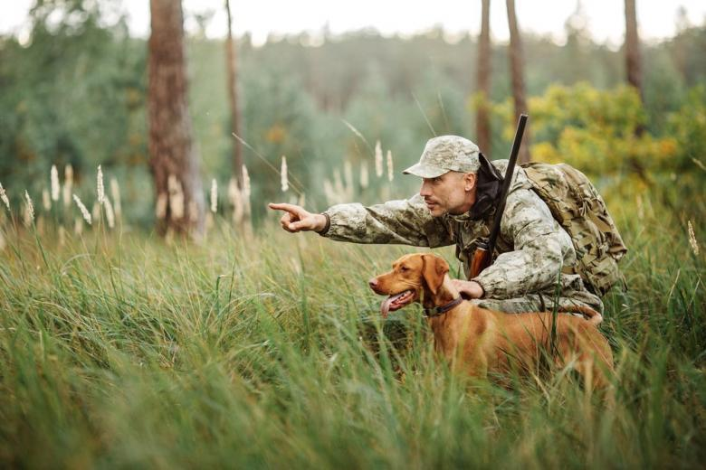 Охотник с собакой фото