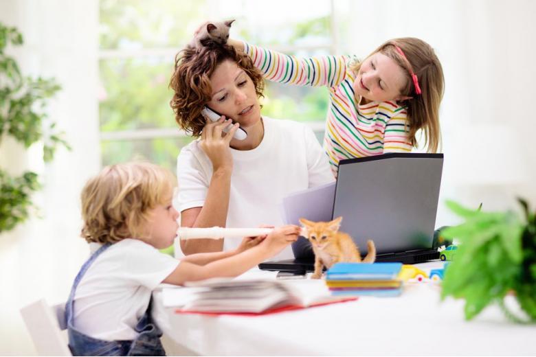 дети мешают женщине работать фото