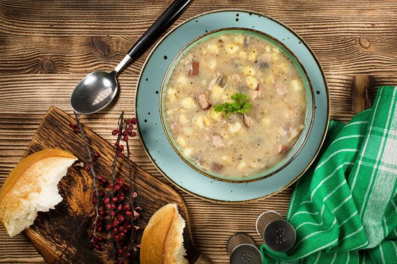 Картофельный суп с колбасками фото