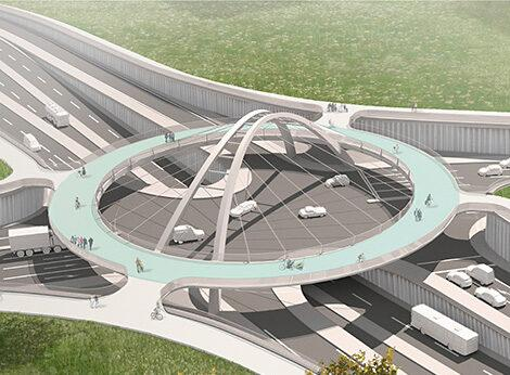 Кольцевая развязка Tangentiale Verbindung Ost для велосипедистов и пешеходов фото