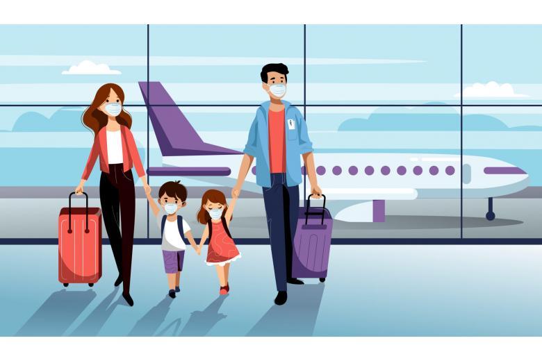 семья путешествует во время COVID-19 фото
