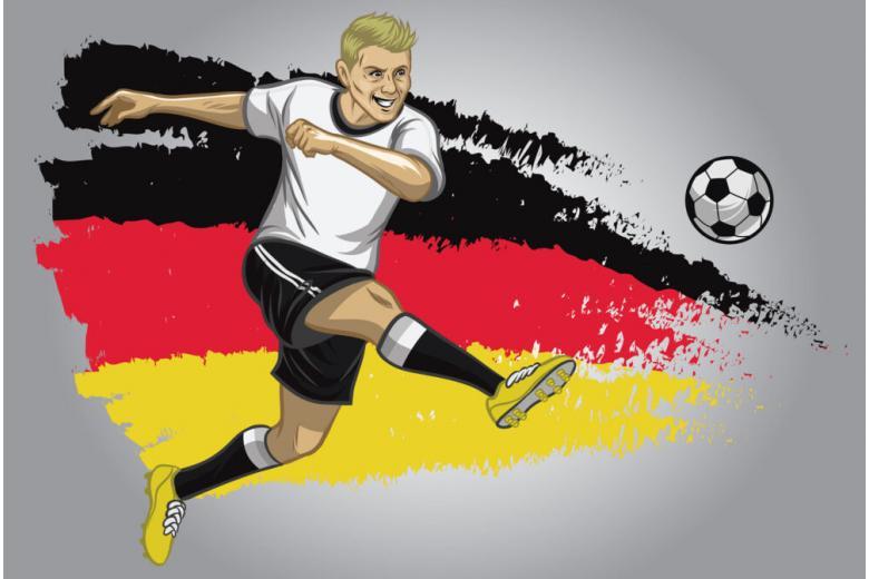 футболист германии бьет по мячу на фоне национального влага фото