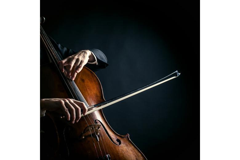 руки мужчины со смычком на виолончели фото