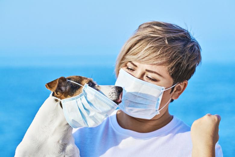 Женщина со своим пёсиком защищаются от инфекции в масках фото