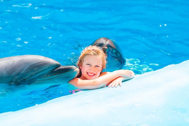 Девочка с дельфинами фото