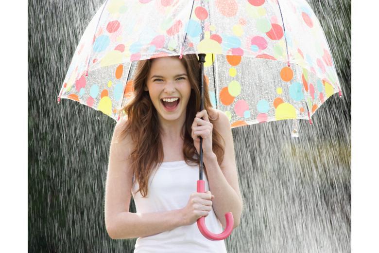 девушка в платье под зонтом фото