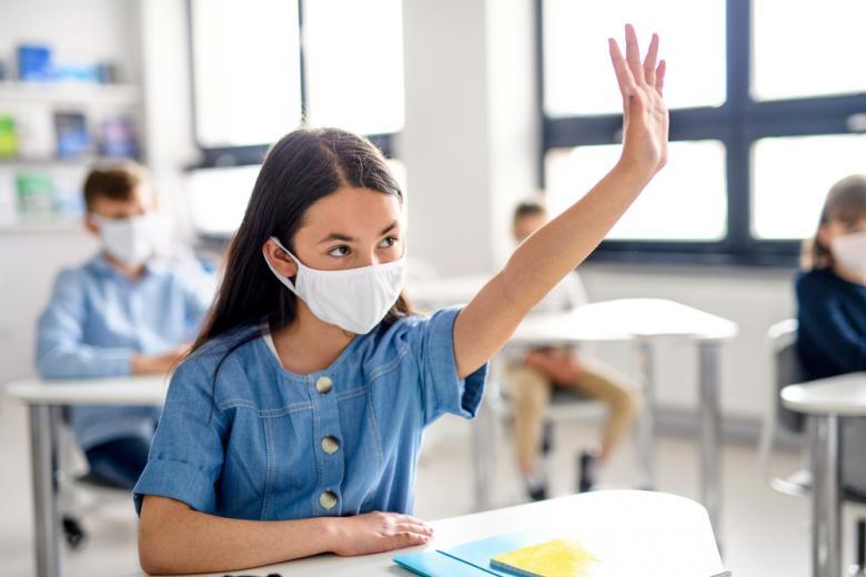 Школьники и рабочие в масках остановят распространение коронавируса фото