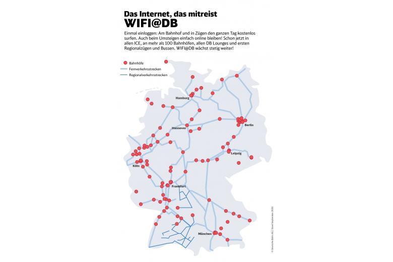 карта доступа к Wi-F- на вокзалах Германии фото