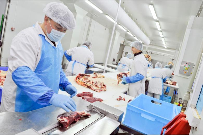 работник разделывает мясо фото