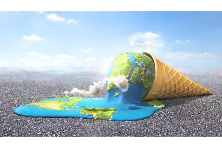 Тающее мороженое рожок в виде планеты фото
