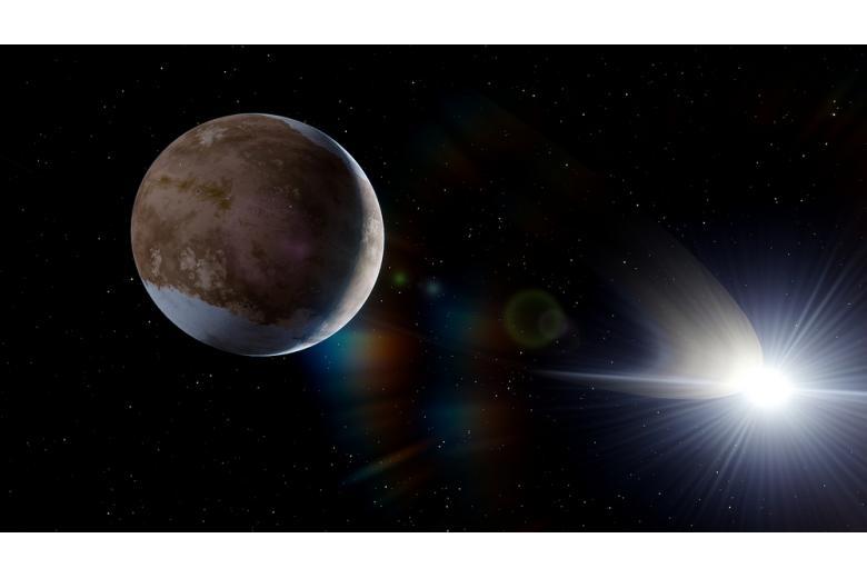 космос, планета и звезда вдалеке фото