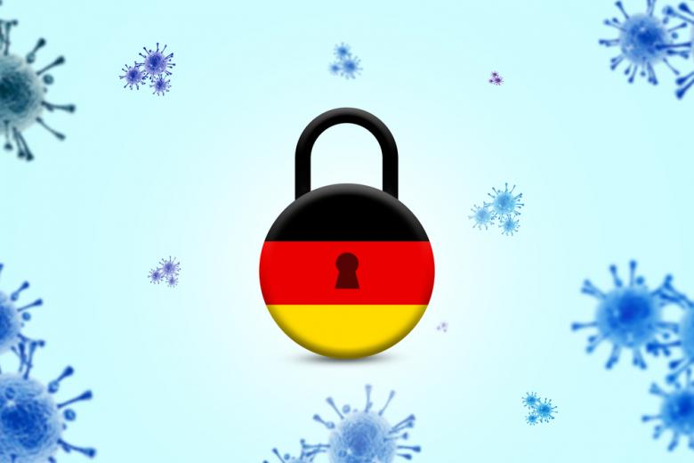 молекулы коронавируса и флаг Германии фото