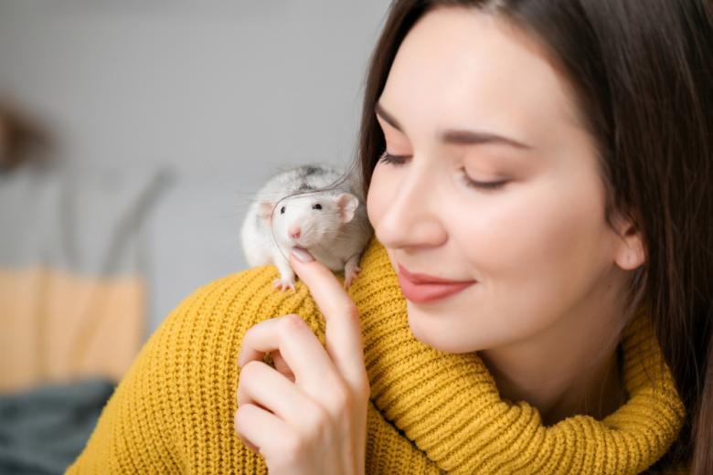 девушка с домашней крысой фото