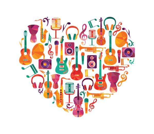 Музыкальные инструменты в форме сердца фото
