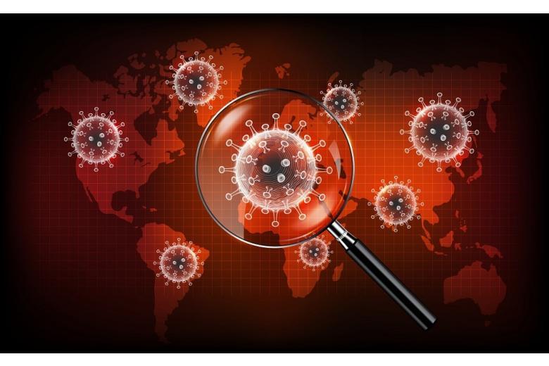 молекула коронавируса на карте мира фото