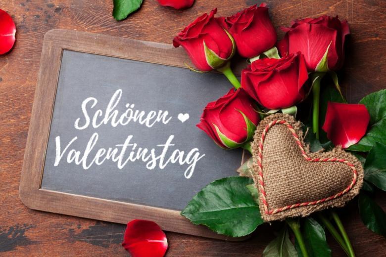 букет роз и поздравление с Днем Валентина по-немецки фото
